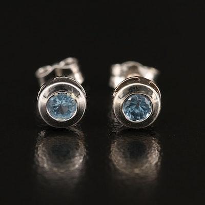 18K Bezel Set Spinel Stud Earrings