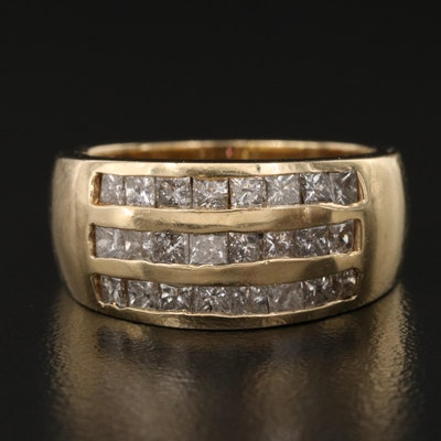 14K Channel Set 1.25 CTW Diamond Triple Row Band
