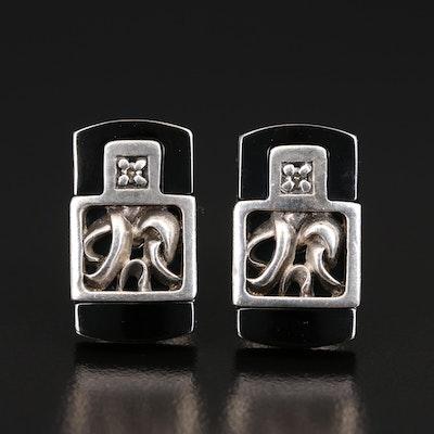 Sterling and Titanium Diamond Cufflinks