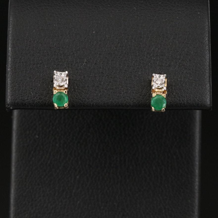 14K Emerald and Diamond Earrings