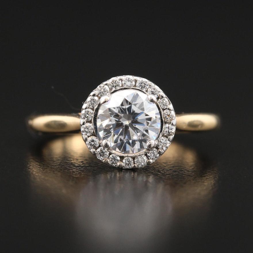 14K Diamond Semi-Mount Ring with Cubic Zirconia Center Setting