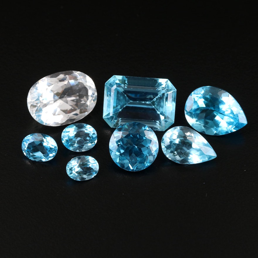 Loose 64.25 CTW Topaz Including Swiss Blue and White Topaz
