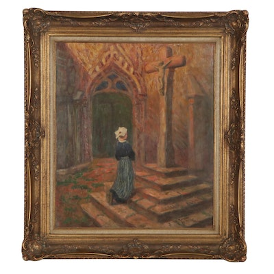 Oil Painting of Woman Kneeling at the Cross, Late 20th Century