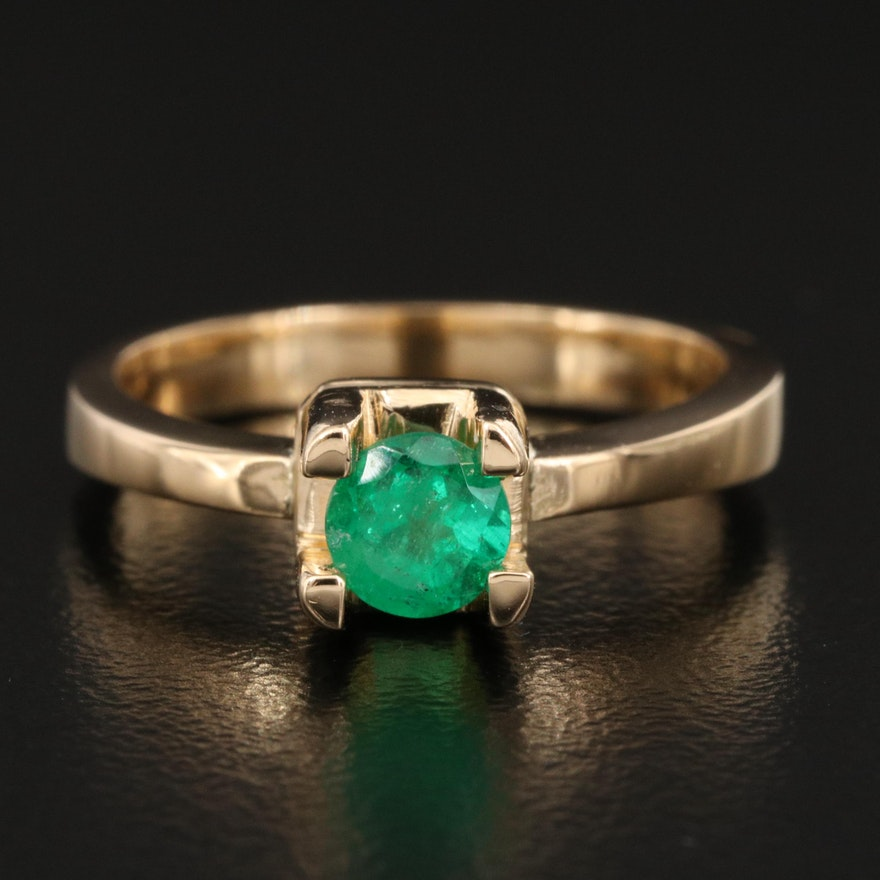 18K Emerald Solitaire Ring