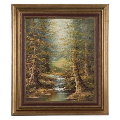 Wolfgang Felzman Landscape Oil Painting of Forest, Late 20th Century