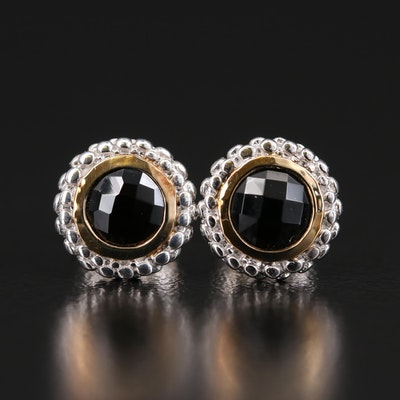 Sterling Bezel Set Black Onyx Stud Earrings with 18K Accents