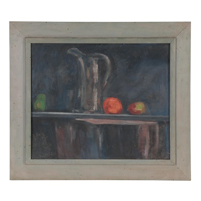 Still Life Oil Painting with Fruit, Mid-20th Century