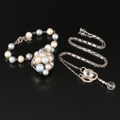 "Vintage Trinity Knot Lavalier Necklace with Pearl ""Fruit Basket"" Bracelet"