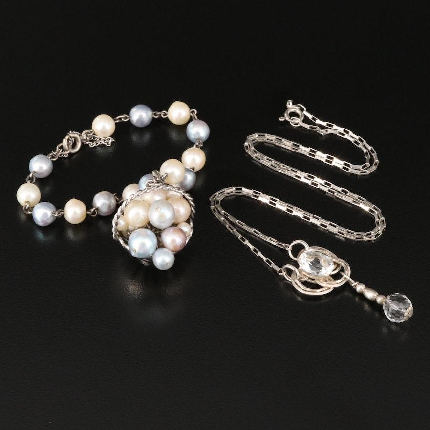 "Vintage Trinity Knot Lavalier Necklace with Pearl ""Fruit Basket"" Bracelet"