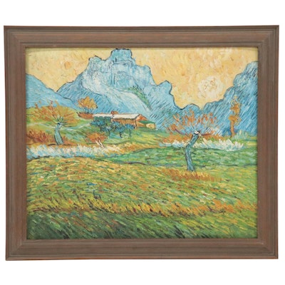 "Oil Painting after Vincent van Gogh ""A Meadow in the Mountains,"" 21st Century"
