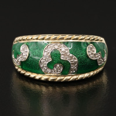 14K Diamond and Green Enamel Ring