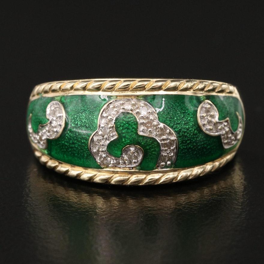 14K Diamond and Green Enamel Ring