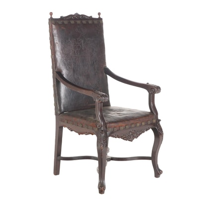 Renaissance Revival Carved Walnut & Tooled Leather Armchair, Early 20th Century