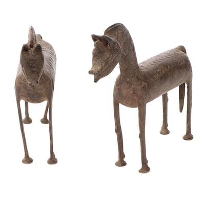 West African Brass Horse Figures
