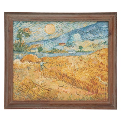 "Oil Painting after Vincent van Gogh ""Wheat Field with a Reaper,"" 21st Century"