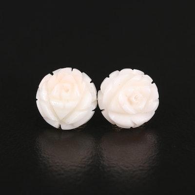 14K Carved Coral Flower Earrings