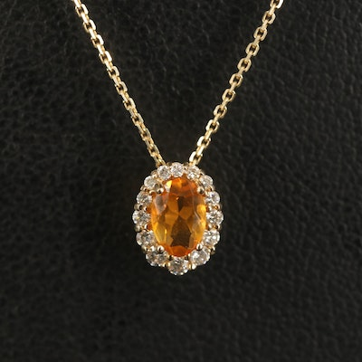 14K Citrine and Diamond Halo Pendant Necklace