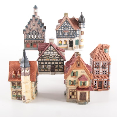G. Wurm Hand-Painted Porcelain Christmas Village, 1990s