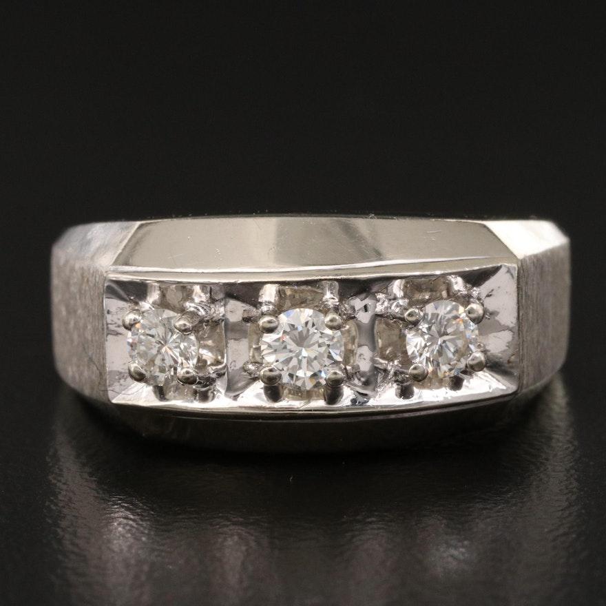 14K Diamond Three Stone Ring with Florentine and Matte Finish