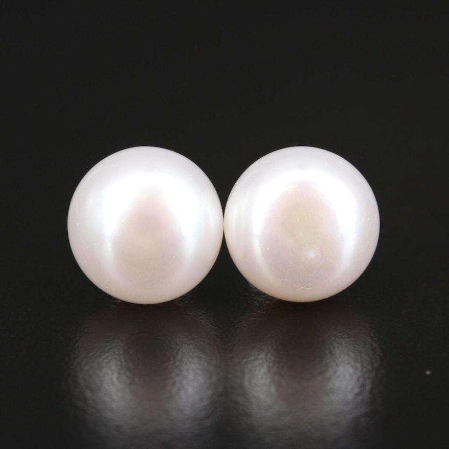 14K 12.40 mm Pearl Button Earrings