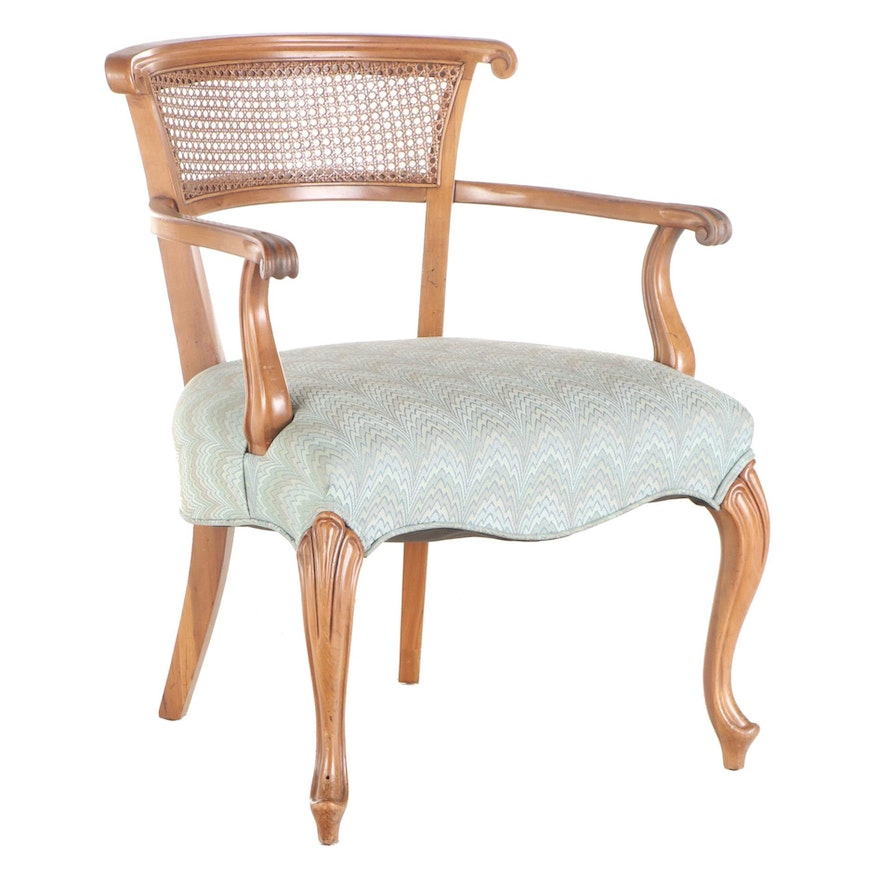 French Provincial Style Caned and Custom-Upholstered Maple Armchair