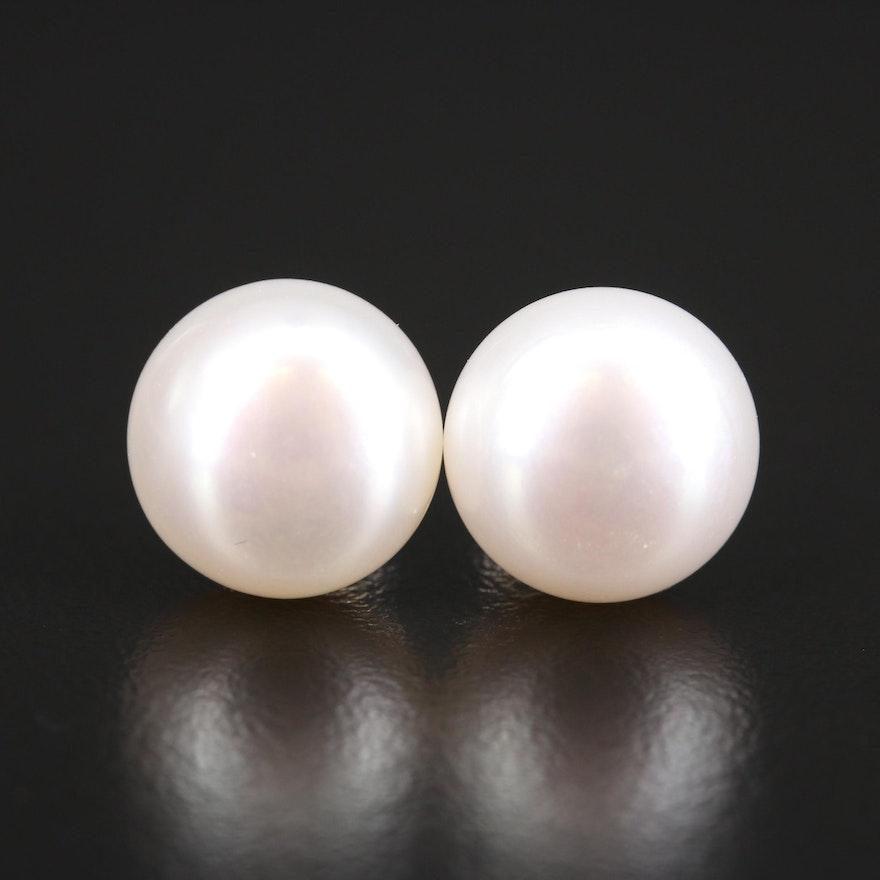 14K 12.00 mm Pearl Button Earrings