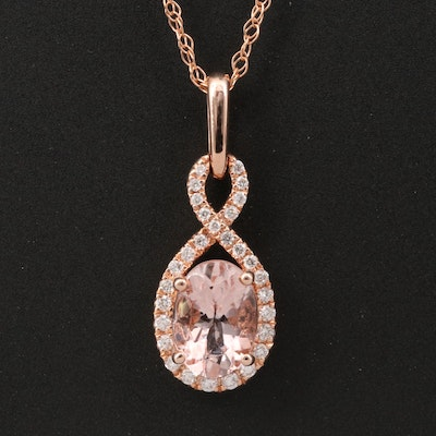 14K Rose Gold Morganite and Diamond Pendant Necklace with Twist Design