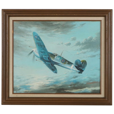 Oil Painting of a Supermarine Spitfire, Late 20th Century