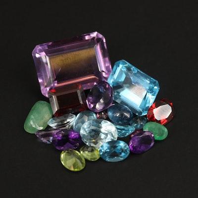 Loose Mixed Gemstones Including Amethyst, Topaz and Garnet