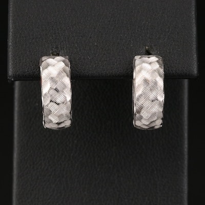 14K Huggie Earrings with Textured Finish