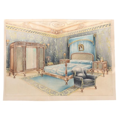 Manuel Lopez Watercolor Illustration of Bedroom Interior, Early 20th Century