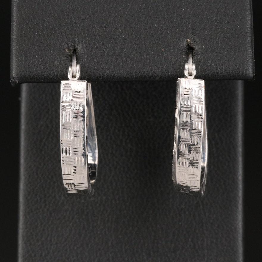 14K Oblong Hoop Earrings with Woven Pattern