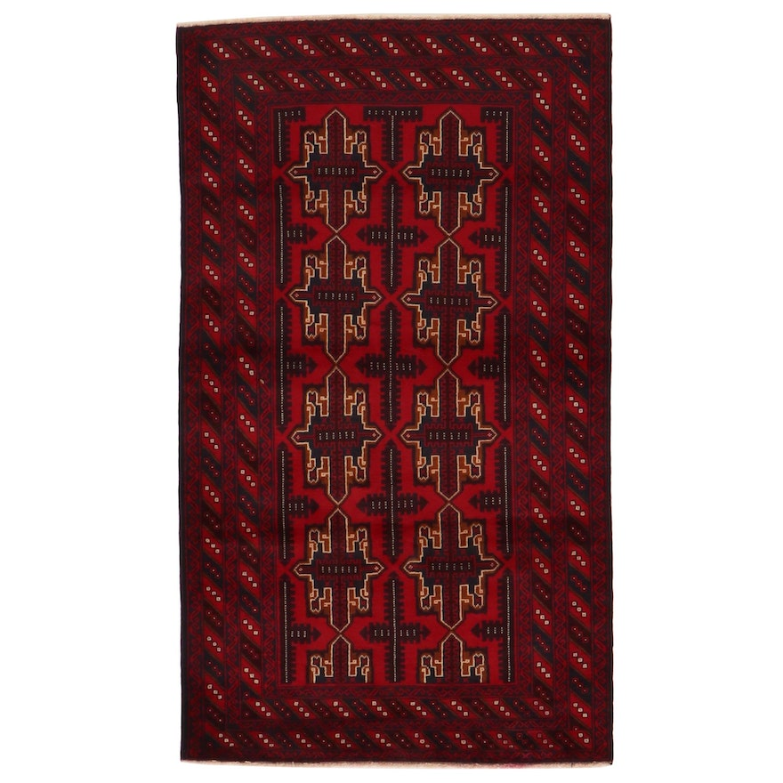 3'9 x 6'4 Hand-Knotted Pakistani Baluch Area Rug