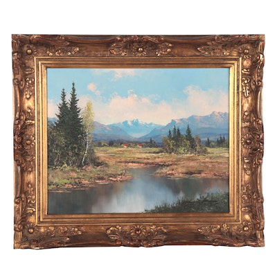 Kurt Moser Alpine Landscape Oil Painting