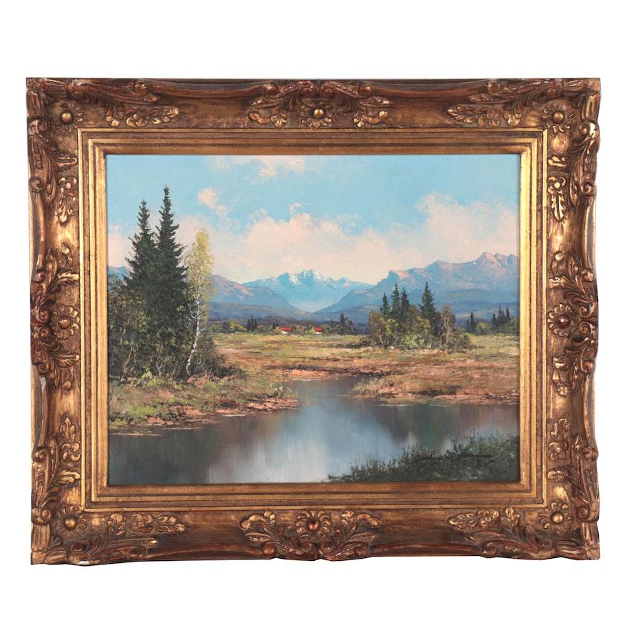 Kurt Moser Alpine Landscape Oil Painting