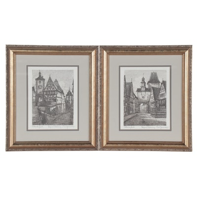 German Etchings of Rothenburg ob der Tauber