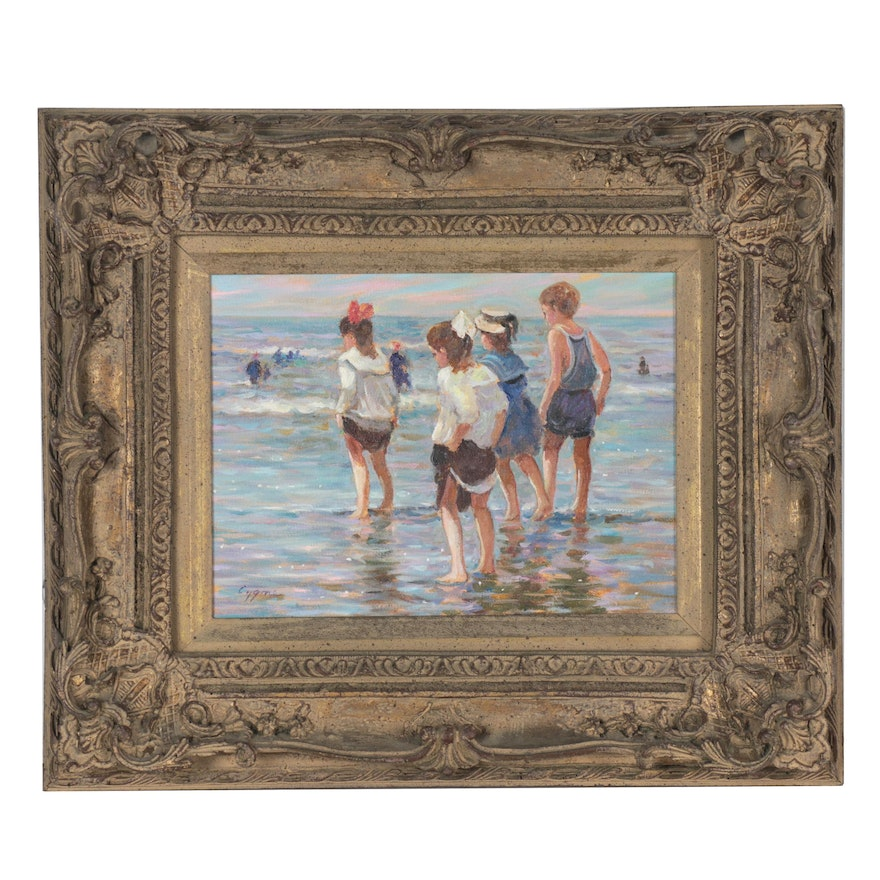 """E. J. Cygne Impressionist Style Oil Painting """"Á Deauville,"""" Late 20th Century"""