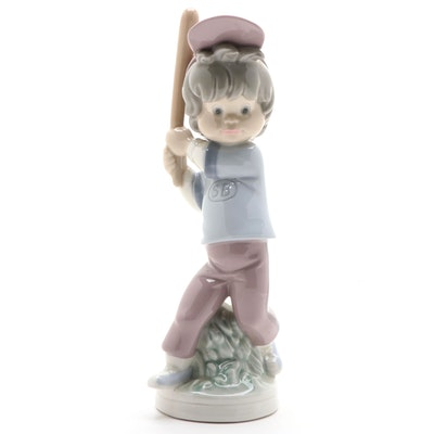 "Lladró ""Billy-Baseball Player"" Porcelain Figurine Designed by José Roig"