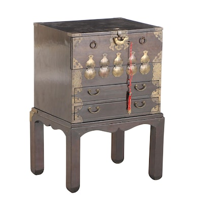 Small Korean Brass-Mounted Hardwood Cabinet-on-Stand