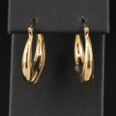 14K Wave Pattern Hoop Earrings