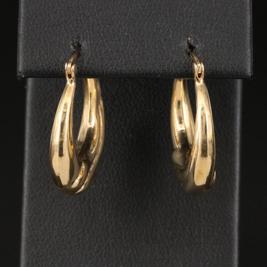 14K Wave Pattern Hoop Earrings
