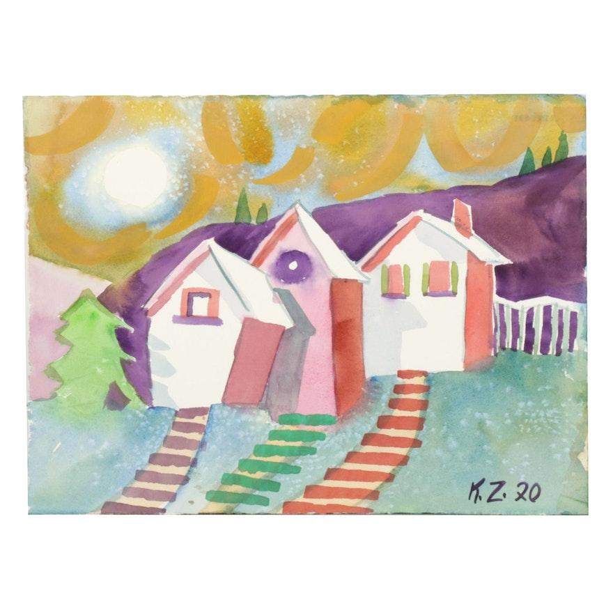 Kathleen Zimbicki Double-Sided Watercolor Painting