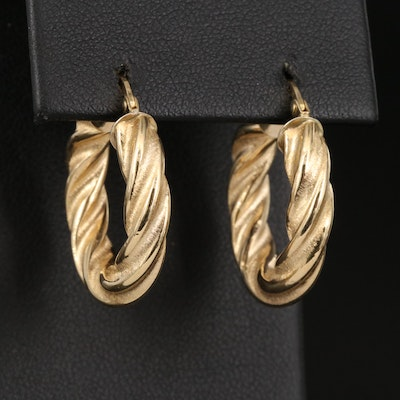 18K Hoop Earrings with Twisted Rope Pattern