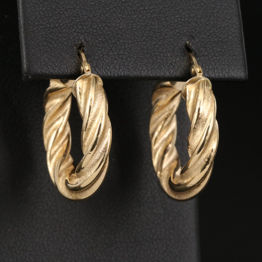 18K Hoop Earrings with Twisted Rope Pattern