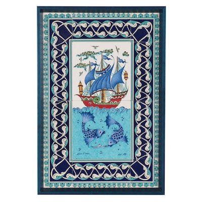 Turkish Ceramic Tiles with Ship and Fish Motif