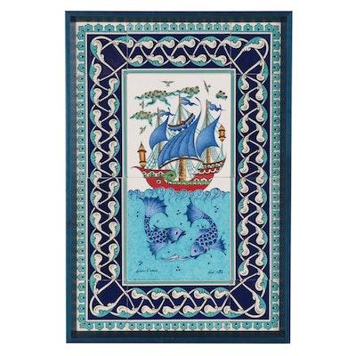 Turkish Ceramic Tiles with Ship and Fish Motif