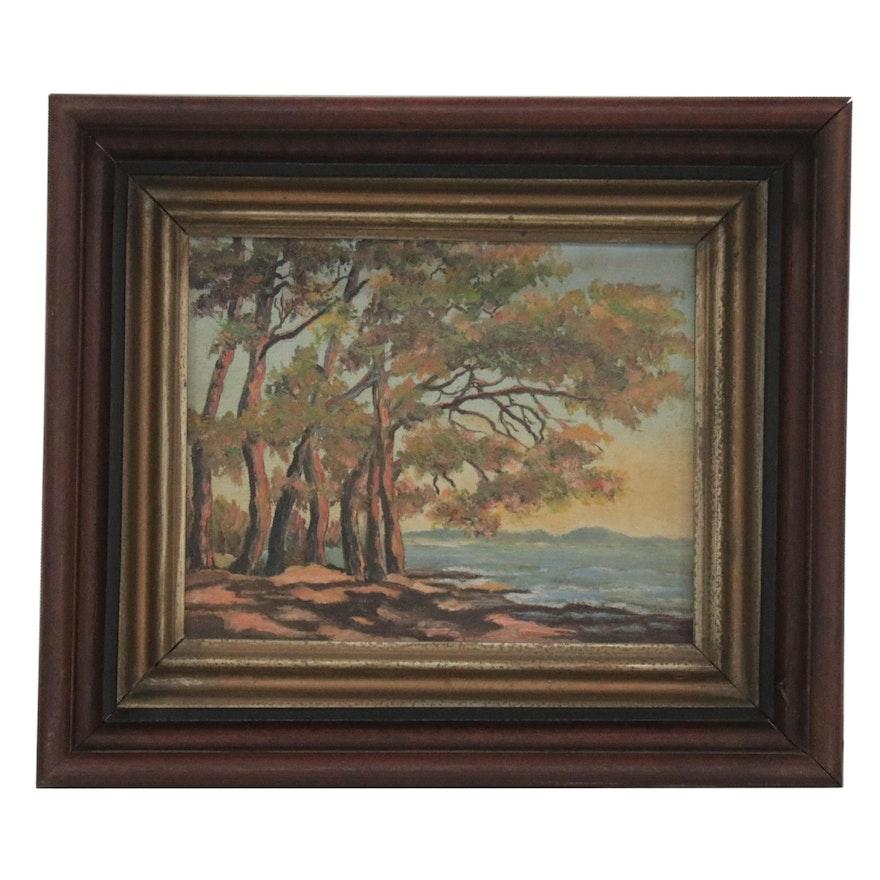 Coastal Landscape Oil Painting, Mid-20th Century