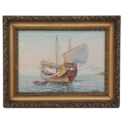 Maritime Oil Painting of Anchored Ship, Mid-20th Century