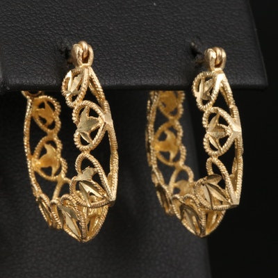14K Hoop Earrings with Openwork Heart Pattern