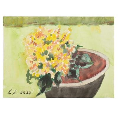 "Kathleen Zimbicki Watercolor Painting ""Corn Still Life,"" 2020"